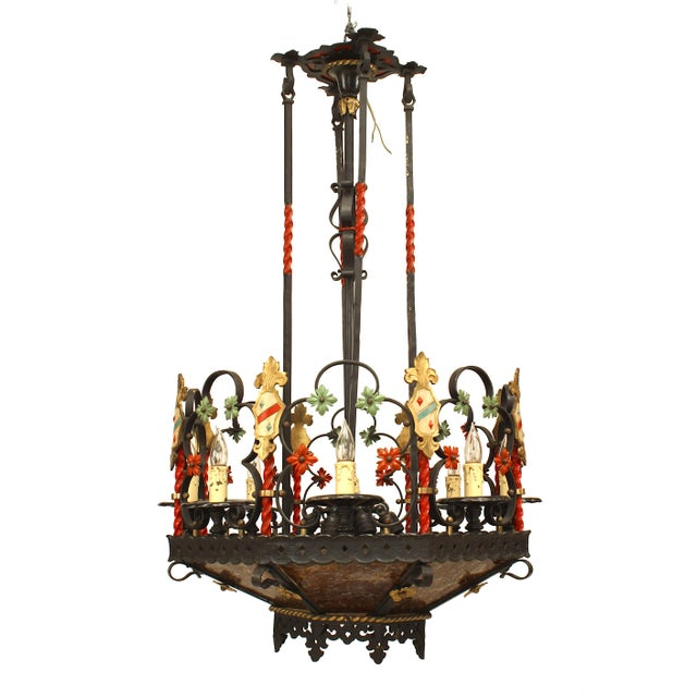 Early 20th Century 1920s English Gothic Revival Style Chandelier For Sale - Image 5 of 5