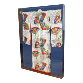 Framed Japanese Ceremonial Kimono in a Lucite Box For Sale