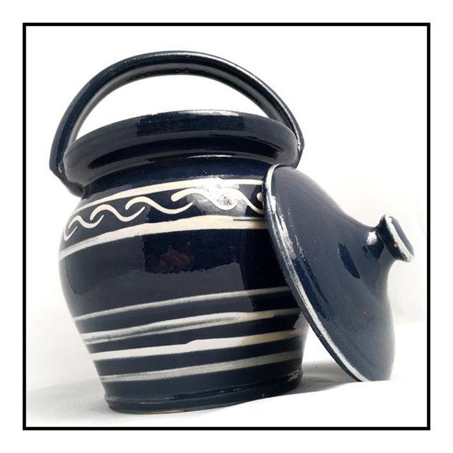 Boho Chic Vintage Danish Earthenware Lidded Biscuit Jar For Sale - Image 3 of 7