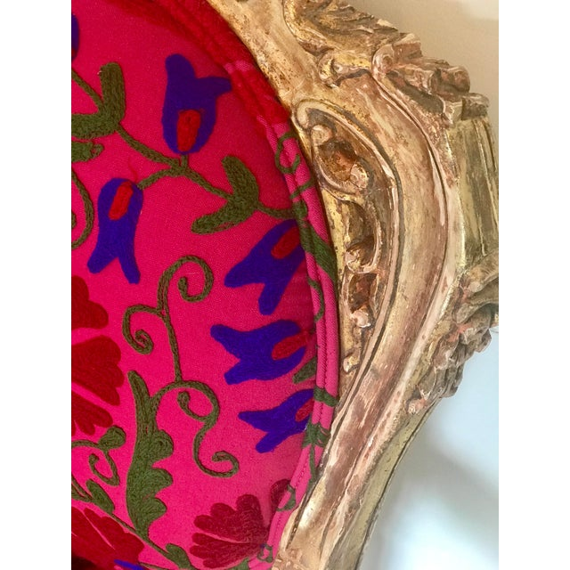 20th Century Boho Chic Red and Hot Pink Velvet French Settee - Image 8 of 11
