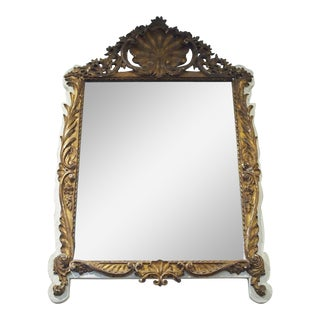 Regence Style Creme Paint and Gilded Mirror For Sale