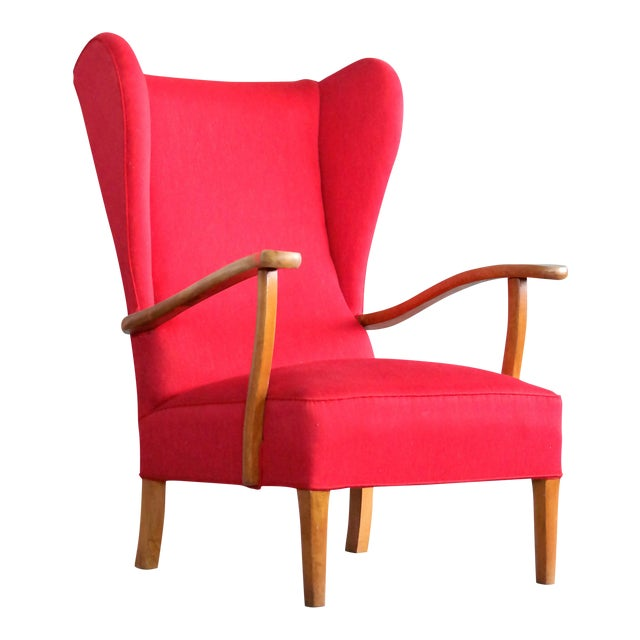 Danish Midcentury Wingback Lounge Chair Attributed to Fritz Hansen For Sale