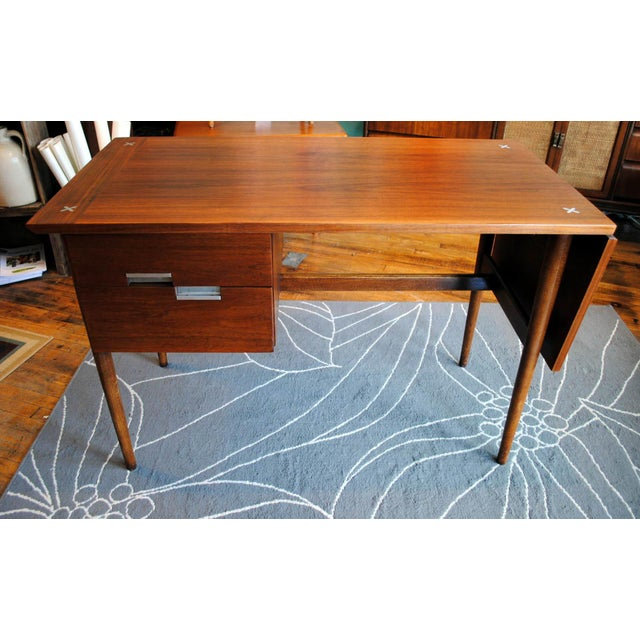 Mid Century American of Martinsville Walnut Drop Leaf Desk - Image 4 of 10
