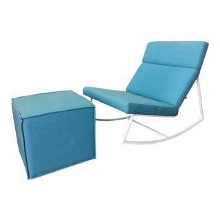 Gus* Modern Gt Rocking Chair & Cube Ottoman For Sale