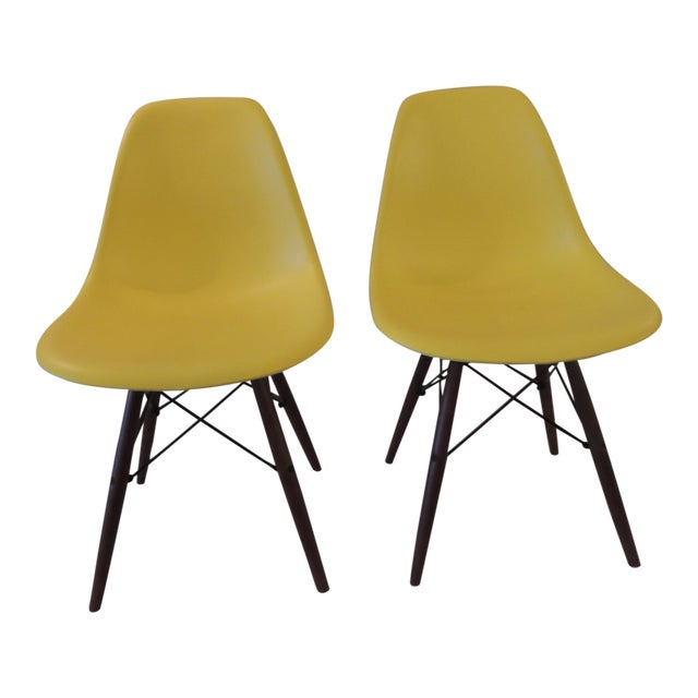 Eames Style Yellow Molded Plastic Side Chairs - a Pair For Sale