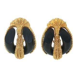 Inna Cytrine Gold Tone & Black Clip on Earrings, 1980's For Sale