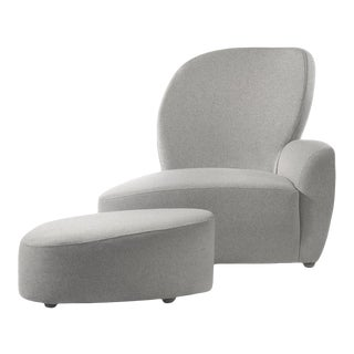 Light Grey Fabric & Ebony Wood Lounge Chair with Ottoman For Sale