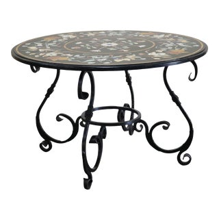 Indian Round Black Marble Table For Sale