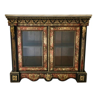 19th Century French Boulle Ebonised Wood Glazed Cabinet For Sale