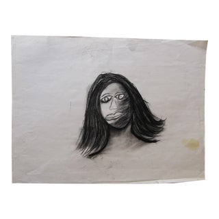 Charcoal Drawing of Lady With Black Hair For Sale