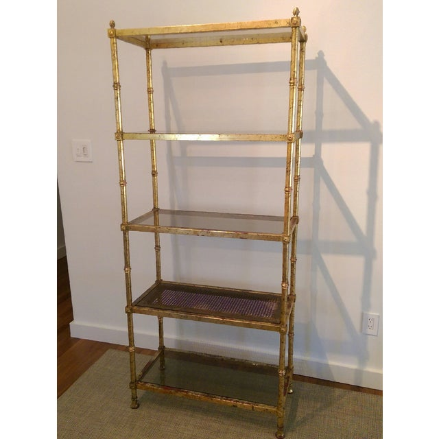 Maison Jansen Hollywood Regency Metal & Glass Etagere - Image 2 of 7