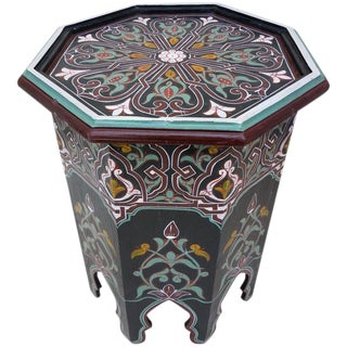 Moroccan Hexagonal Black Wooden End Table For Sale