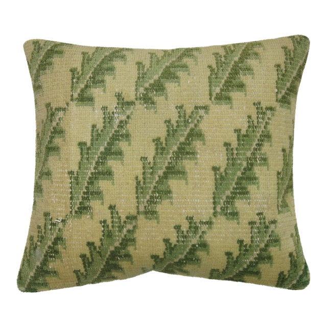 Green Leaves Turkish Rug Pillow - Image 1 of 3