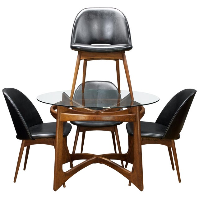Early 1960s Pearsall Craft Assoc. Black & Walnut Dinette Set For Sale