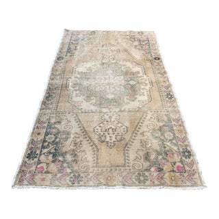 Traditional Oushak Antique Wool Rug - 4′3″ × 7′5″ For Sale