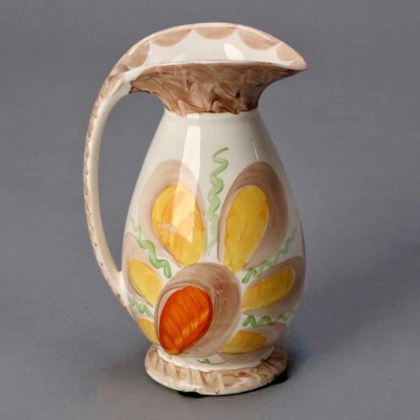 Art Deco Myott Son & Co Art Deco Pottery Pitcher With Large Yellow Flower For Sale - Image 3 of 4