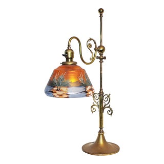 Reverse Painted Brass Desk Lamp For Sale