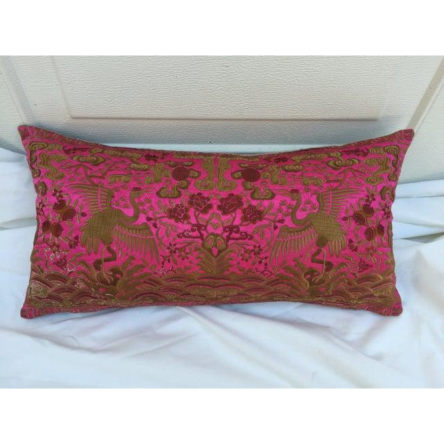Chinoiserie Pink Silk Crane Boudoir Pillow - Image 2 of 7
