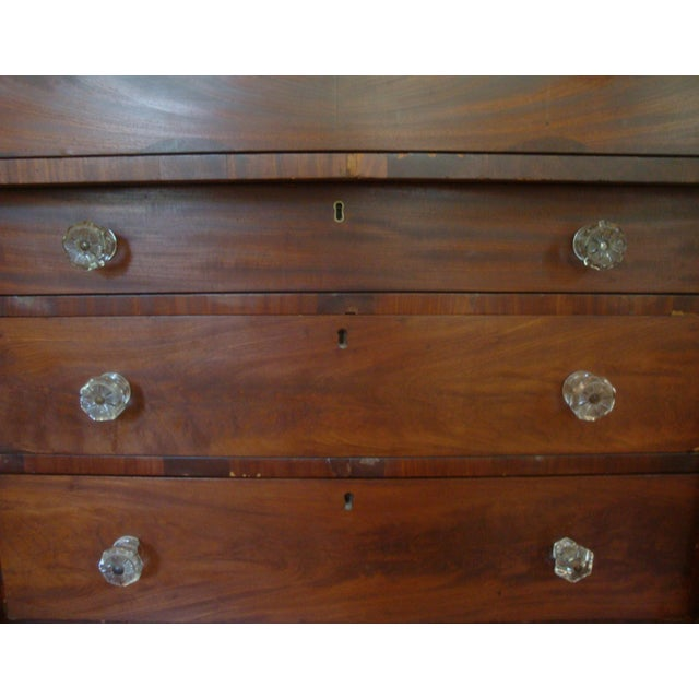 19thC Antique Burl & Walnut Empire Chest of Drawers For Sale - Image 4 of 12