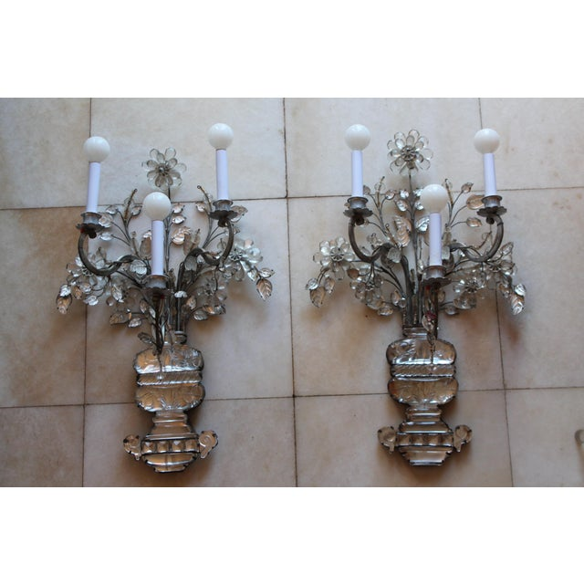Metal C1845 Maison Bagues Museum Quality Huge Crystal Floral Sconces/ Wall Lamps-Signed in Bronze - a Pair For Sale - Image 7 of 12