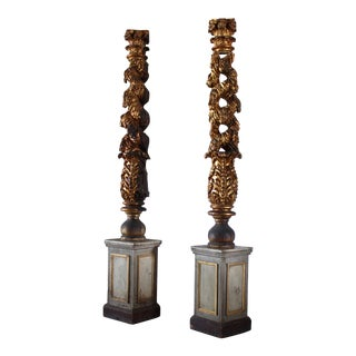 18th Century Italian Carved Solomonic Columns - a Pair For Sale