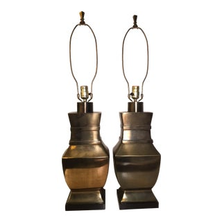 Paul Hanson Neoclassical Brass Bronze Trophy Lamps - a Pair For Sale