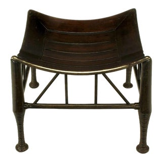 Dark Oak Egyptian Revival Thebes Stool, Circa 1900, Liberty & Co. Attributed For Sale