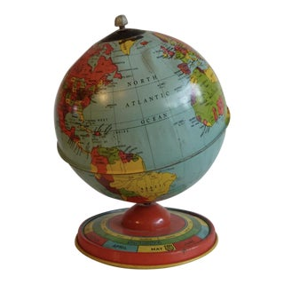 Chein & Co 1940's Vintage Metal Tin Globe