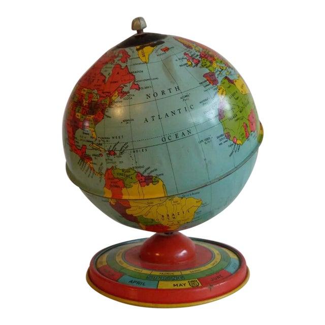 Chein & Co 1940's Vintage Metal Tin Globe For Sale