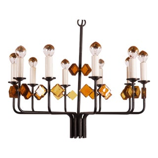 Scandinavian Glass & Iron Chandelier by Svend Aage Holm Sorensen For Sale
