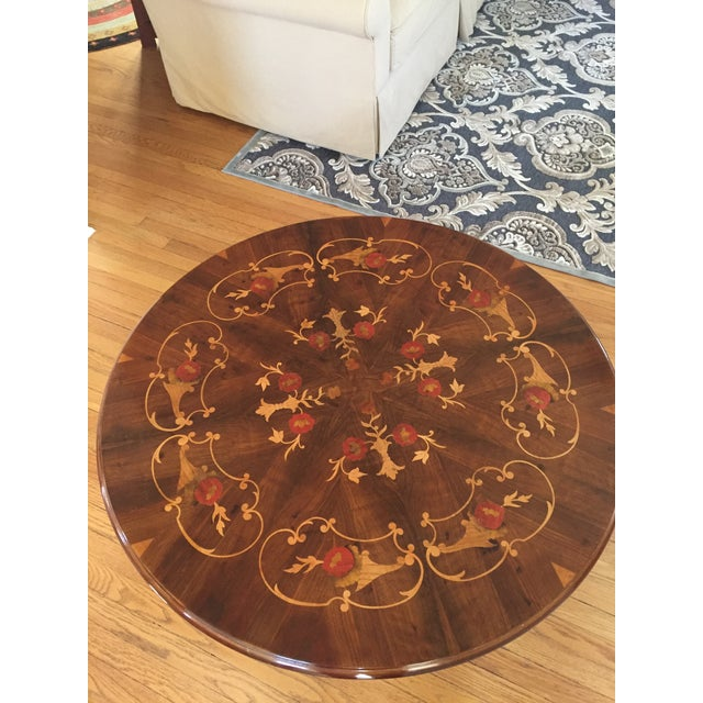 Inlaid Wood Round Coffee Table - Image 3 of 5