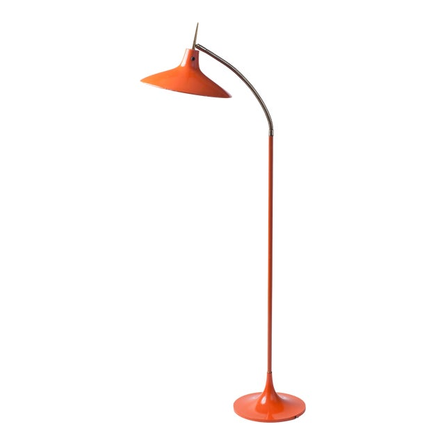 Gio Ponti Style Shapely Enameled and Brass Gooseneck Mid-Century Modern Floor Lamp Circa 1950's For Sale