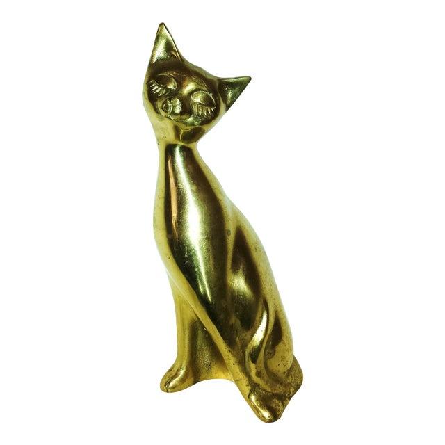 Lg Mid-Century Brass Siamese Cat - Image 1 of 6