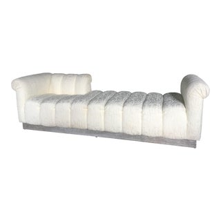1980s Vintage Channel Tufted Chaise For Sale