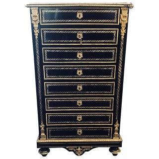 19th Century Edwardian Bouille Inlaid and Bronze Mounted Abattant Chest Desk