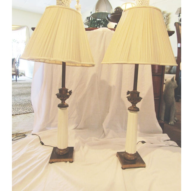 Vintage Stiffel Tapered Ceramic Lamps - A Pair - Image 2 of 5