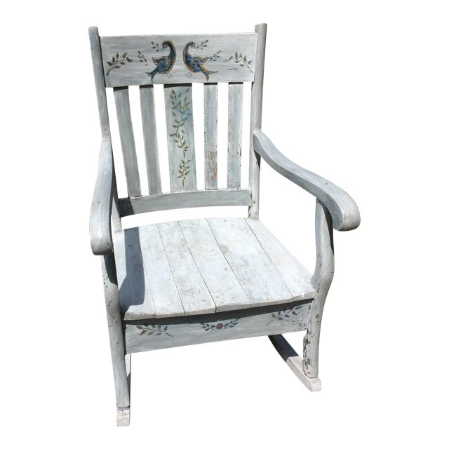 Rustic Hand Painted Rocking Chair Chairish - Rocking Chair Antiques Warrington - Image Antique And Candle