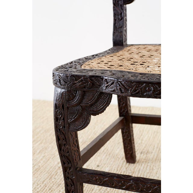 Wood Anglo Indian Carved Rosewood Desk Chair For Sale - Image 7 of 13