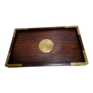 Mahogany Tray With Brass Trim For Sale