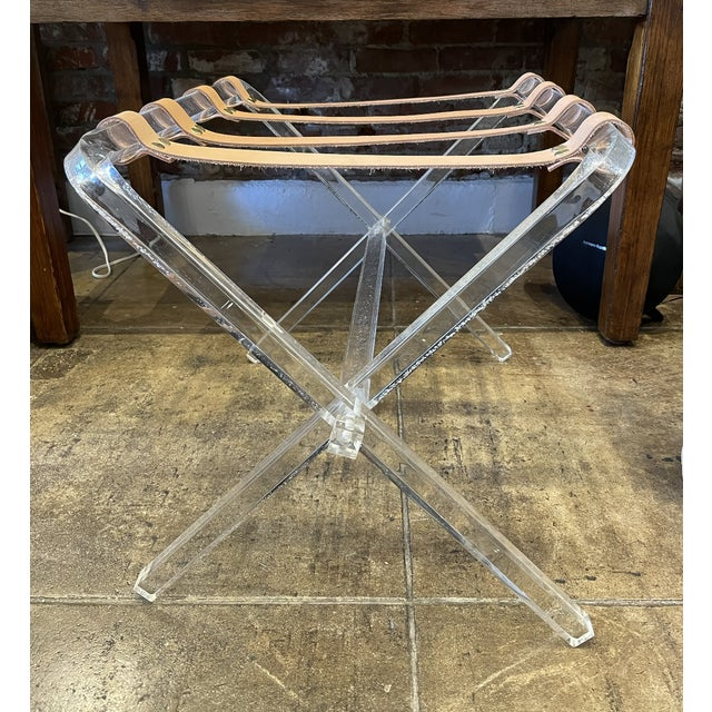 Modern Lucite & Leather Folding Luggage Table For Sale - Image 3 of 9