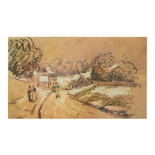 """1959 Alfred Sisley, First Edition Cottage Style Lithograph """"Early Snow in a French Village"""" For Sale"""