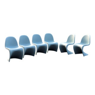 """Verner Panton for Vitra Ice Gray """"Panton"""" Chairs - Set of 6 For Sale"""
