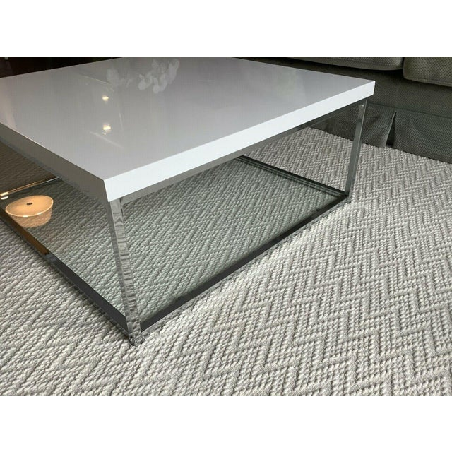 White Lacquer and Chrome Coffee Table With Tempered Glass Bottom Shelf For Sale - Image 4 of 10