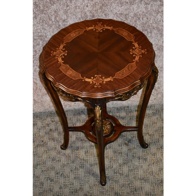 1950s French Carved & Inlaid Accent Table For Sale - Image 4 of 13