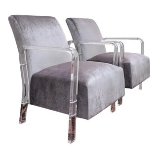 Contemporary Acrylic & Velvet Lounge Chairs, a Pair For Sale