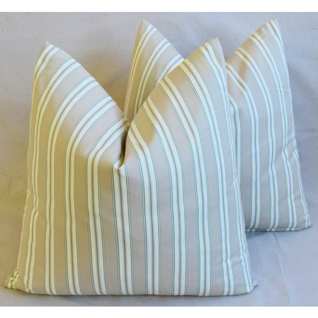 """French Striped Ticking Feather/Down Pillows 23"""" Square - Pair For Sale - Image 10 of 11"""