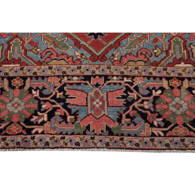 Textile Early 20th Century Antique Persian Heriz Wool Rug For Sale - Image 7 of 13