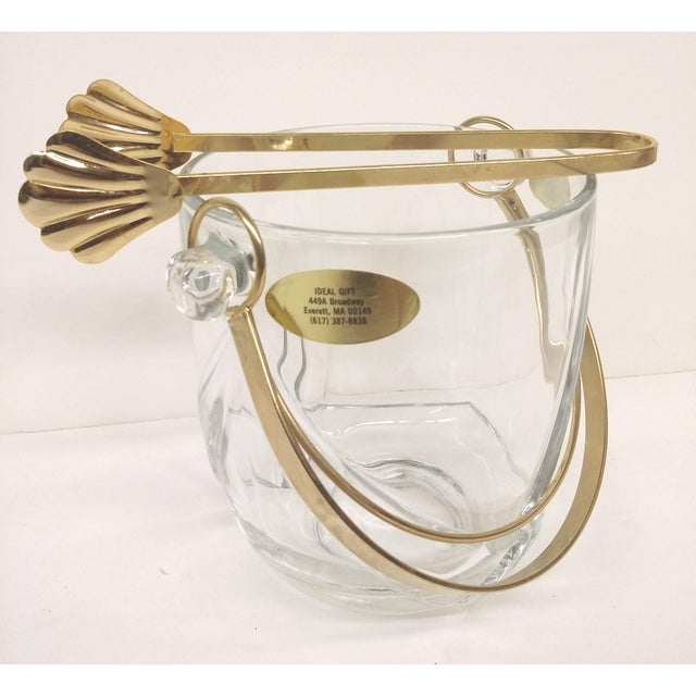 Murano Vintage Italian Murano Glass Gold Plate Ice Bucket & Tongs For Sale - Image 4 of 8