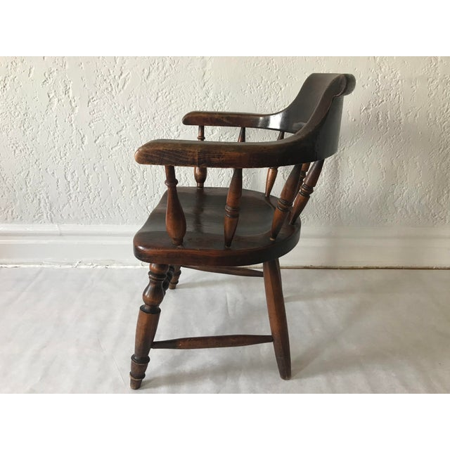 """Wood 19th Century Antique """"Captain"""" Arm Chair For Sale - Image 7 of 13"""