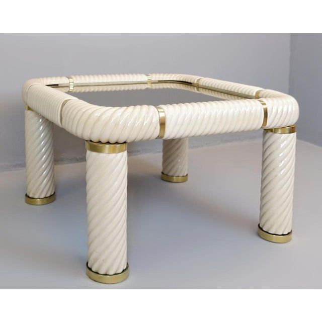Tommaso Barbi ceramic and brass coffee table. Made in the 1970s.